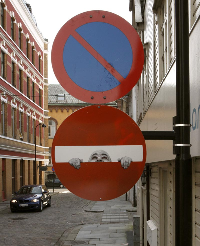 Dan Witz, Street Art, Do not Enter project, Jonathan LeVine Gallery Detournement: Signs of the Times, humorous modification of street signs