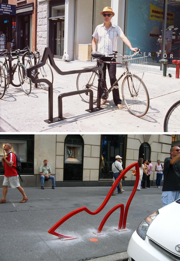 David Byrne designed Bike racks with fun shapes in nyc 2008