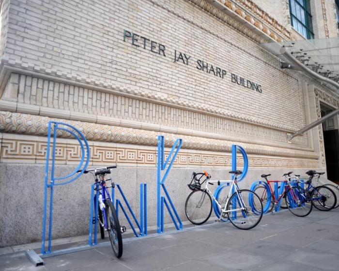 BAM alphabet bike racks by David Byrne, Pink Crown
