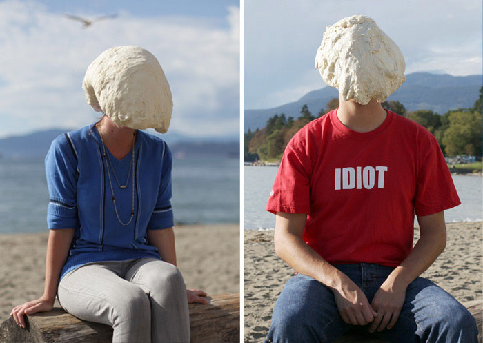 Danish contemporary photography, humorous portraits with dough on people's heads, Soren Dahlgaard