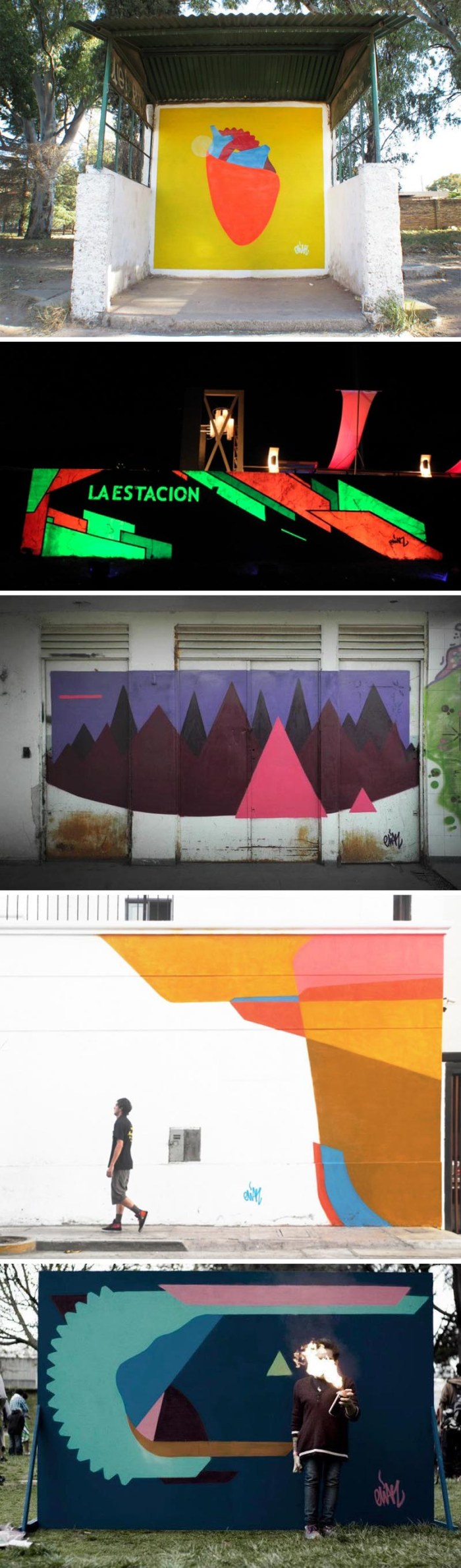 colorful street art geometric murals by Elian, Street art from Argentina, Cordoba