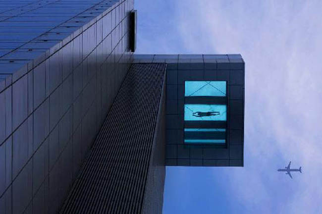 cool pool with glass bottom in Shanghai Holiday Inn, cantilevered pool