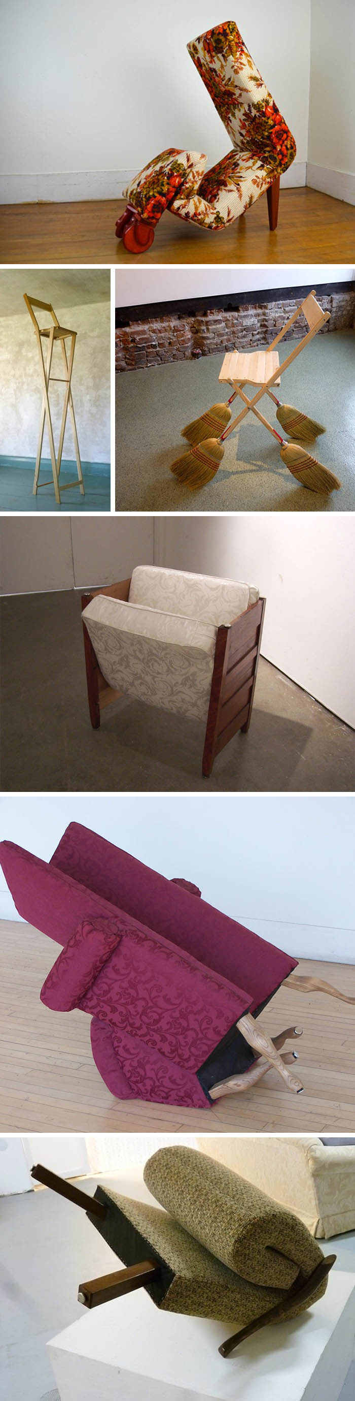 Humorous sculptures made from furniture, animated sculpture, furniture with attitude and personality, Angelo Arnold