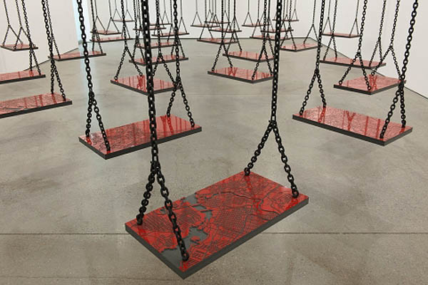 Contemporary Palestinian/Lebanese art, Mona Hatoum, cool installations, swings, maps
