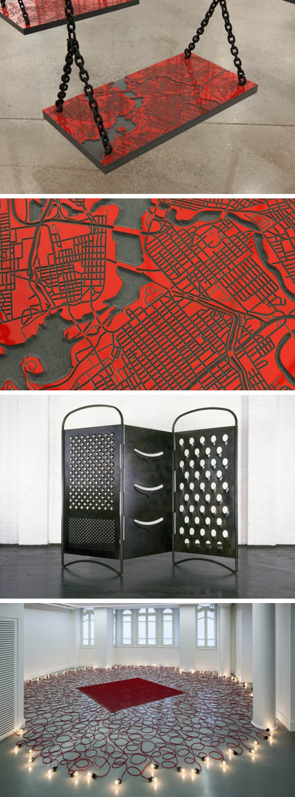 Contemporary Palestinian/Lebanese art, Mona Hatoum, cool installations, swings, maps, cheese grater divider