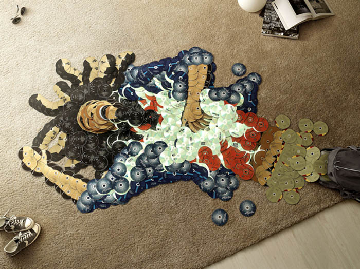 Classic deceased musicians rendered in mosaics from cds, Mirco Pagano and Moreno de Turco, Piracy Ad campaign and exhibit