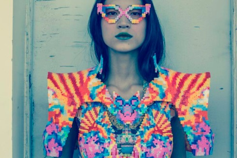 Fashion and costume design using melted Perler beads by Sabine Ducasse. Melting Pot, cool costume design
