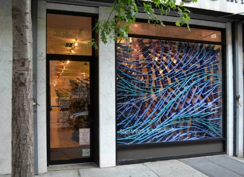 Installation by FreelandBuck at Bridge Gallery, NYC. 2D illustrations rendered as 3D installation,