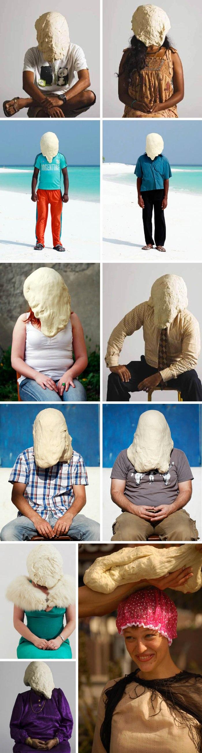 Danish contemporary photography, humorous portraits with dough on people's heads, Soren Dahlgaard
