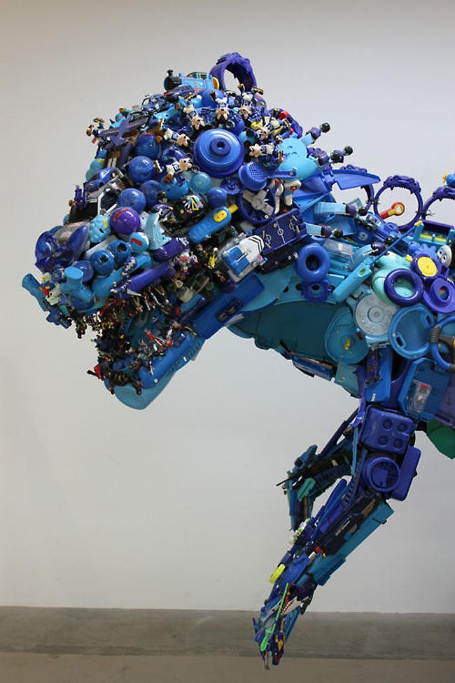 Hiroshi Fuji, Toy Saurus, Sculpture made from recycled toys, interactive exhibit, Japanese Contemporary Art