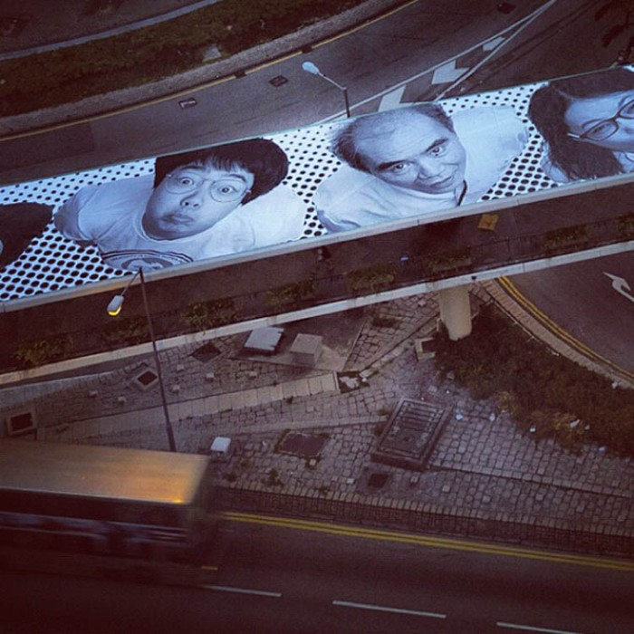 JR, inside out project, photo portrait street art in Hong Kong, Connaught Street Footbridge, collabcubed