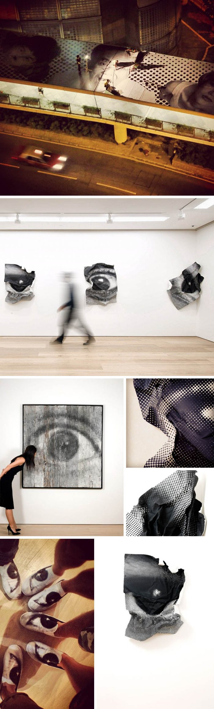 JR, inside out project, photo portrait sculptures Galerie Perrotin in Hong Kong, Patterns exhibit