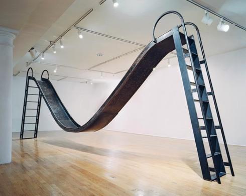 Double Slide, contemporary scultpure, slide sculpture, Karen Olivier, Socrates Sculpture Park