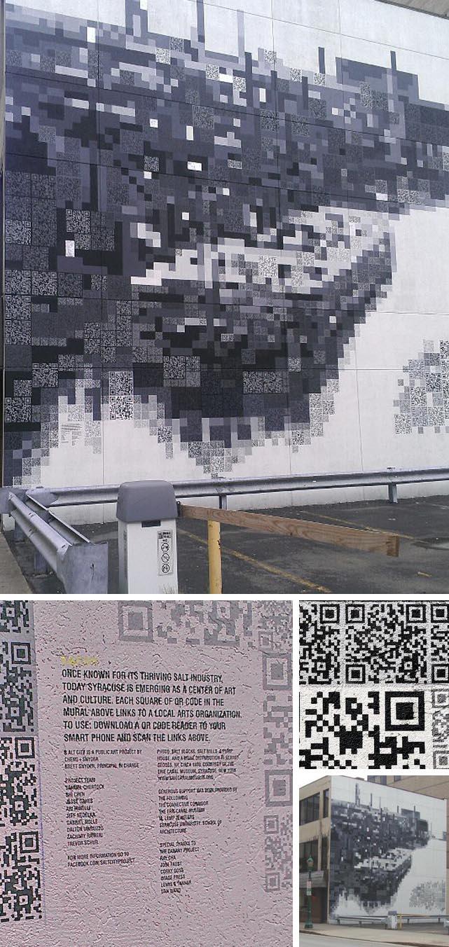Interactive QR code Mural in Syracuse, S.Alt city, street art mural, Irene Cheng & BrettSnyder