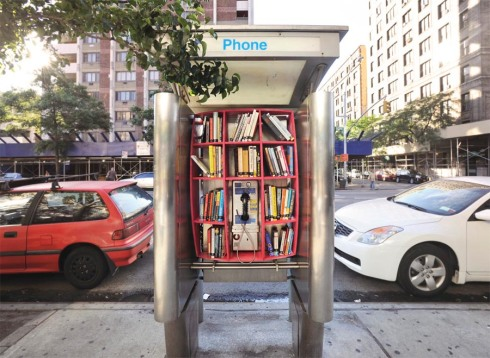 Pay Phone Lending libraries, converting underused NYC Pay Phones into bookshelves, John H. Locke, DUB, Street Art, Repurposing, recycling, smart urban design