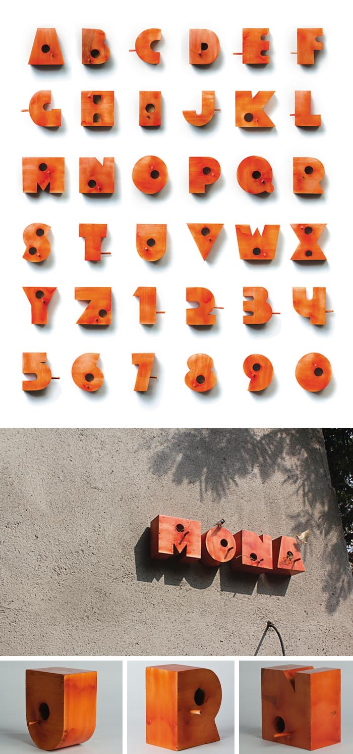Birdhouses in the shape of letters, Typography in industrial design, signage and bird house