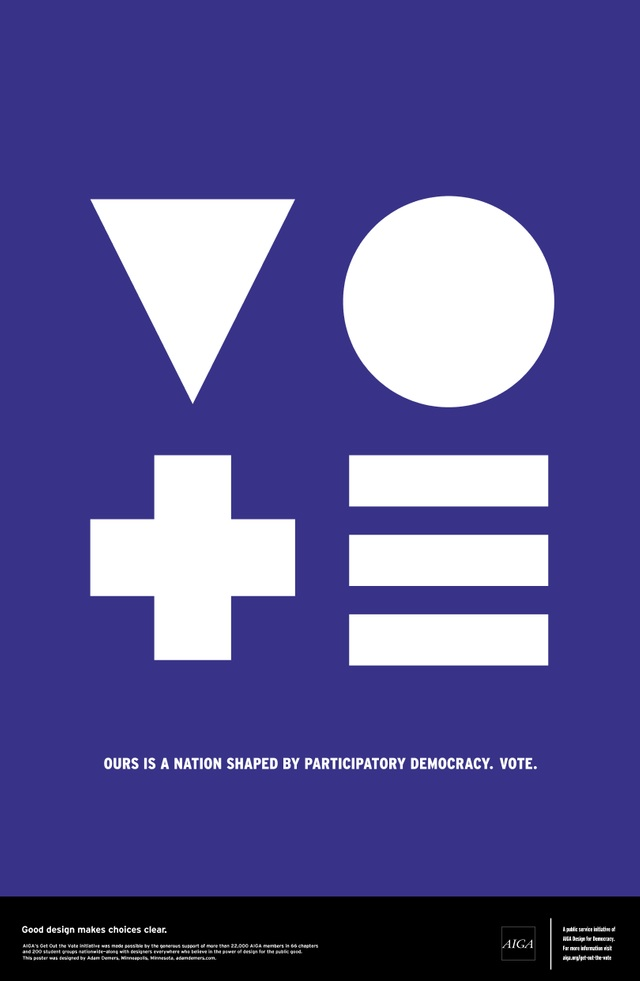Graphic and typographic posters to Get people out to Vote in the 2012 Elections, AIGA exhibit, NYC