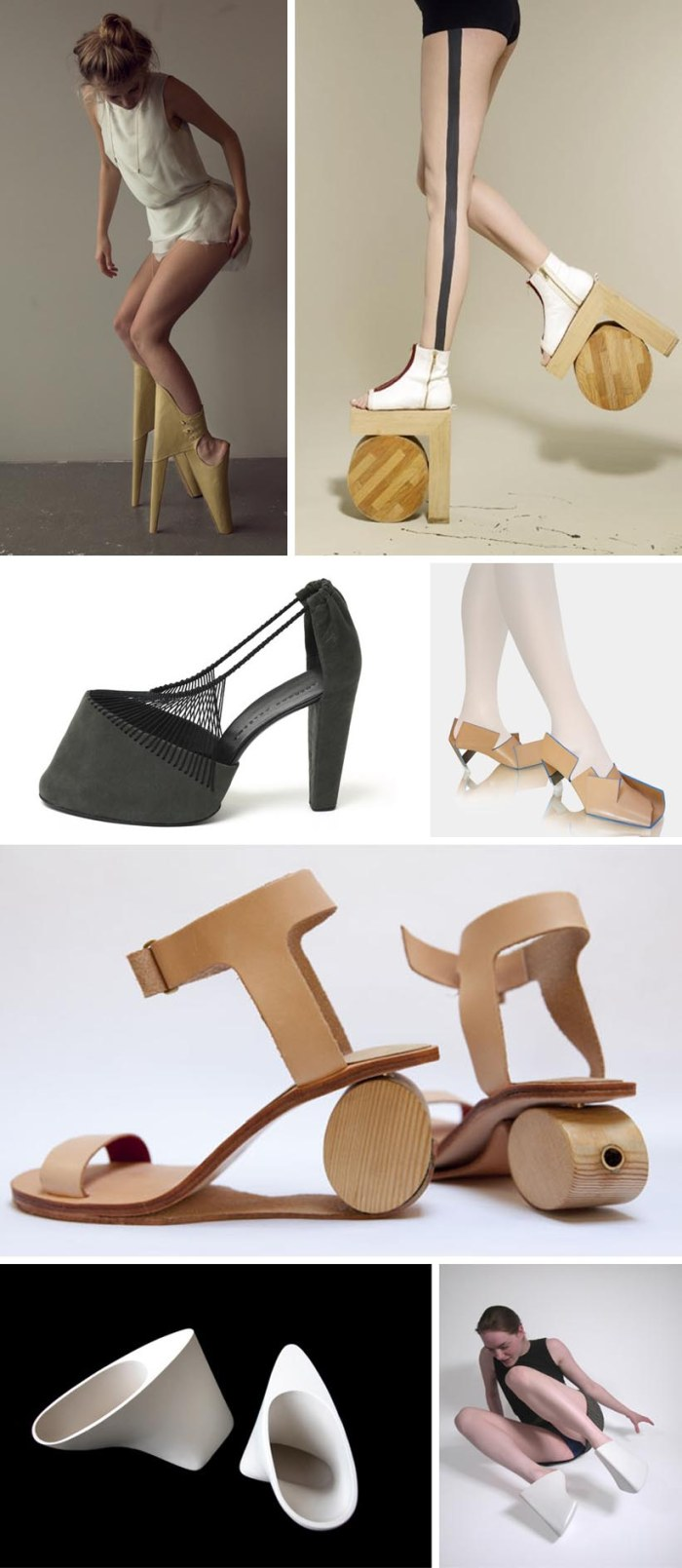 Extreme design in shoes, crazy shoe design, wooden shoes, Pavlina Miklasova, Leanie van der Vyver, Rosanne Bergsma, Marloes ten Bhomer, Benoit Meleard