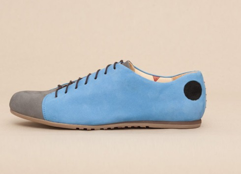 Bauhaus style shoes for Atheists, black hole logo, humorous handmade shoes