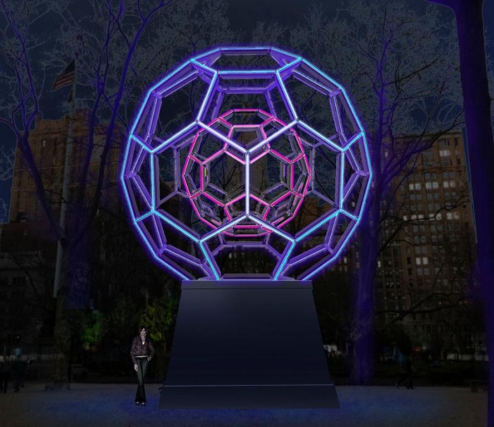 Cool light installations by Leo Villareal in NYC. Buckyball at Madison Square, Cosmos at Cornell, Hive at Bleecker Station