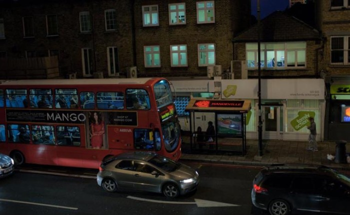 Double-decker bus stop tops, animated public art project during the 2012 Olympics in London, LEDs