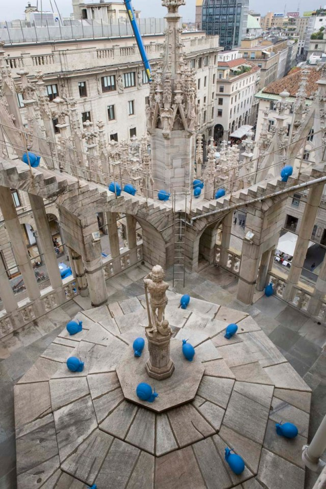 Street art for renewal, renovation and upkeep of cities (Milan). Snails created and sold by Cracking Art Group to raise money for maintenance and repair