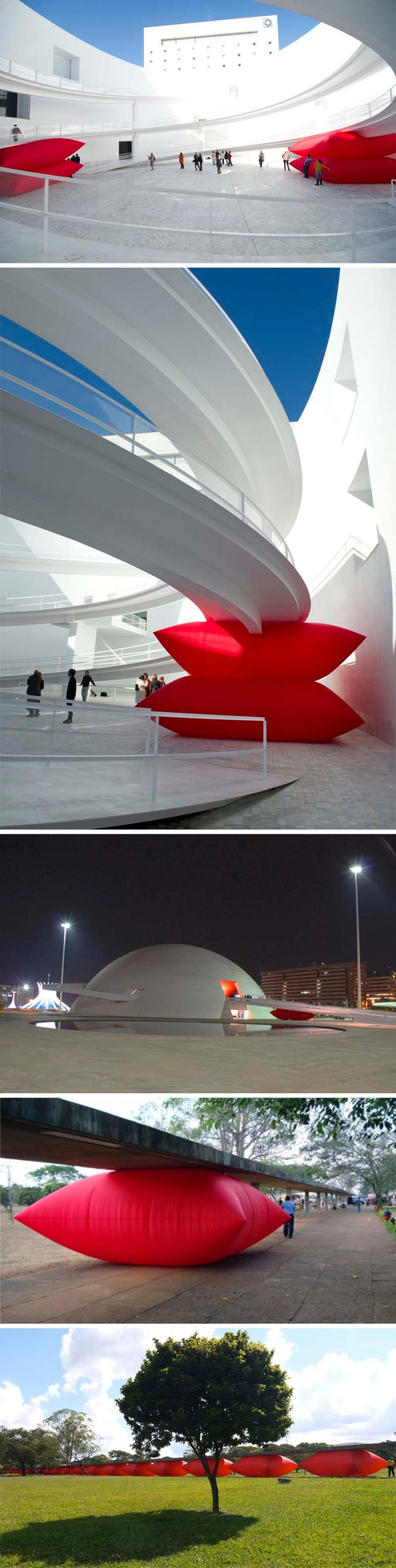 Inflatable art installation, AiOP NYC, Geraldo Zamproni's large red pillow, contemporary brazilian sculpture and installations