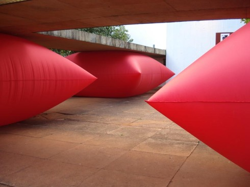 Inflatable art installation, AiOP NYC, Geraldo Zamproni's large red pillow, contemporary sculpture and installations