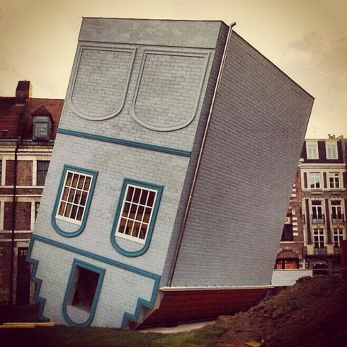 Fun and cool installation of upside-down house at Festival Lille Fantastic 2012, Fantastic Lille3000, Jean-Francois Fourtou, contemporary art