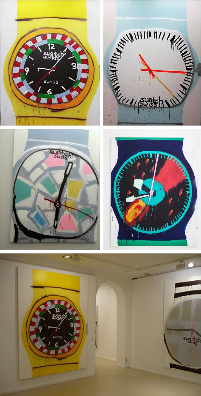 large acrylic painting of Swatch watches by Katherine Bernhardt. Fun contemporary art.