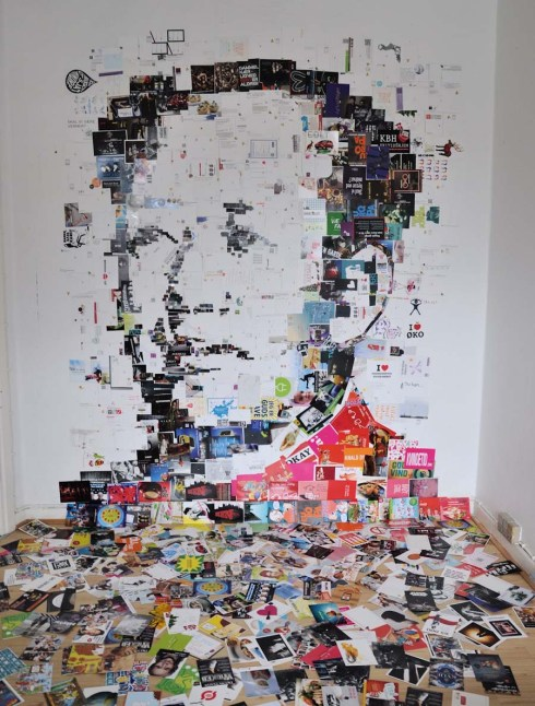 collage of Mao made from postcards by Amir Zainorin, postcard currency portraits