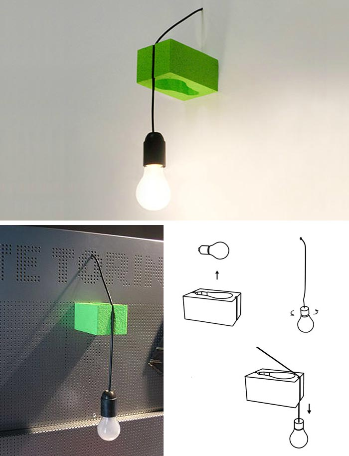 Clever lamp design that integrates packaging as part of the simple lamp design. Boca Design, Italy