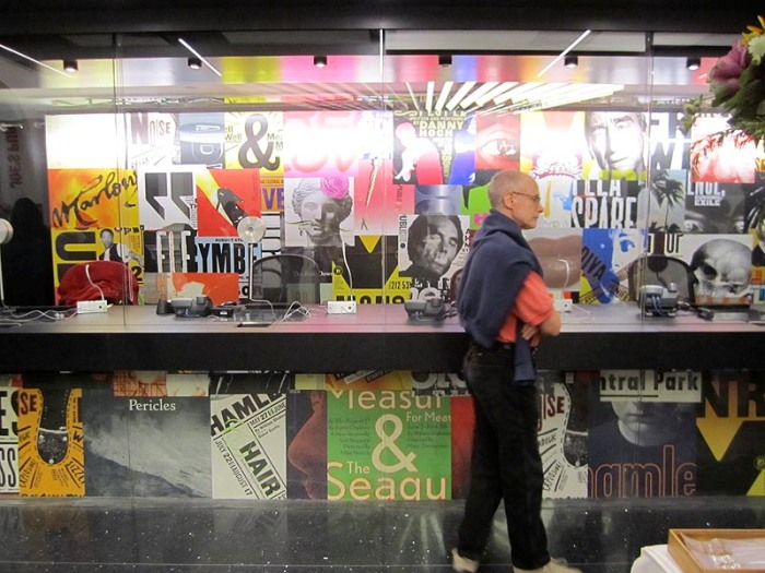 Paula Scher and Pentragram design/posters in the lobby of the renovated Public Theater, NYC, typography abounds