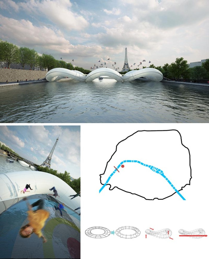 Cool and fun bridge proposal for Paris by Atelier Zundel Cristea, Bridge Design, Trampolines, Inflatable structures