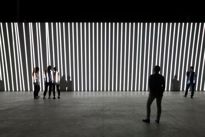 cool audiovisual installation by German artist Carsten Nicolai at HangarBicocca in Milan