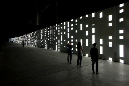 cool audiovisual installation by German artist Carsten Nicolai at HangarBicocca in Milan
