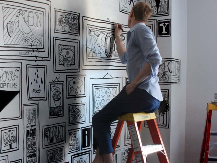 Illustration, Graphic Design, Writing on the walls at the Ace Hotel, FlexFit, Fun Decor, typography