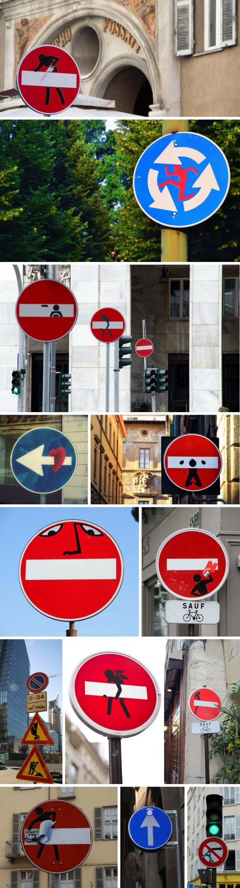 European Street Art, pictorial stickers on street signs, graffiti, humor, Clet Abraham, contemporary art, fun