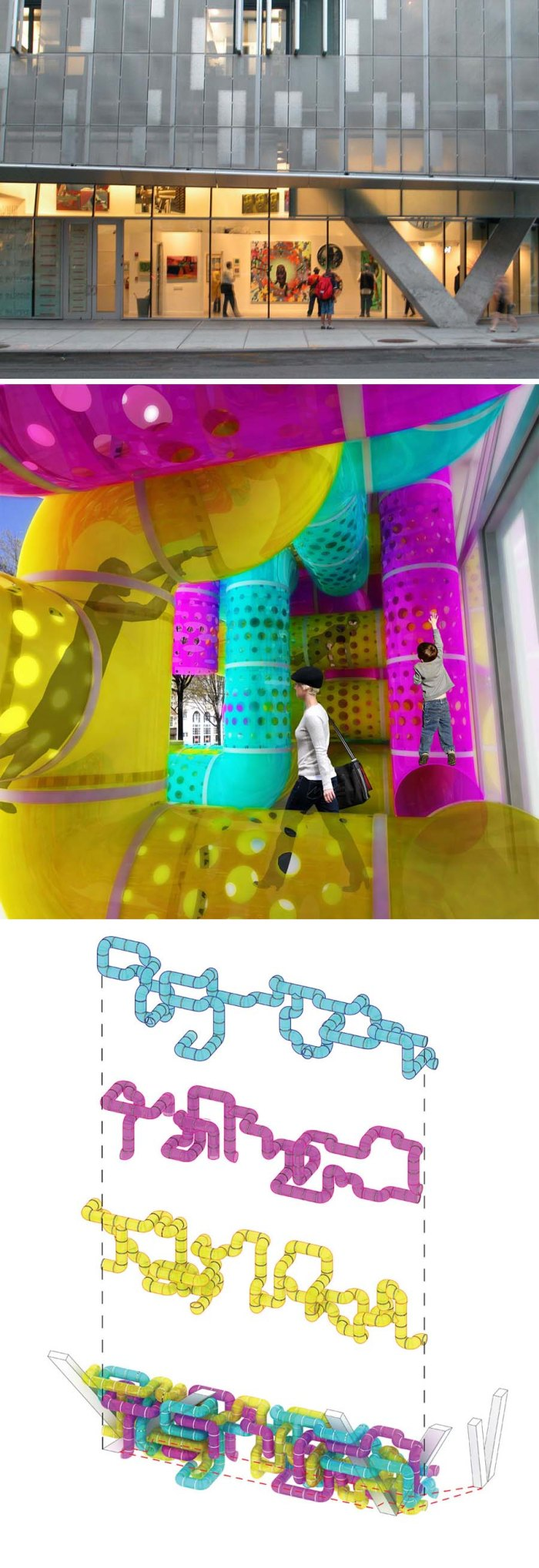 interactive facade competition entry for 41 Cooper Square by Adam Hostetler and Virgina Melnyk. CMYPlay, tubular jungle-gym facade, cool installation