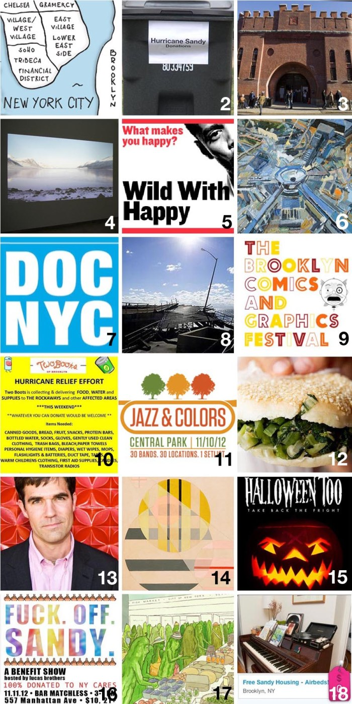 Free & Cheap things to do in New York City 11/9 to 11/11, art, film, theater, architecture, dance, comedy, food plus ways to support Hurricane Sandy Relief Efforts this weekend.