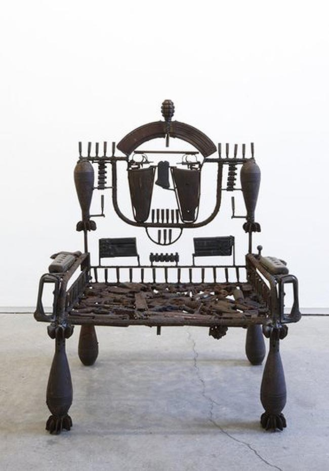 Sculptures and chairs made with repurposed weapons by Mozambique artist Goncalo Mabunda