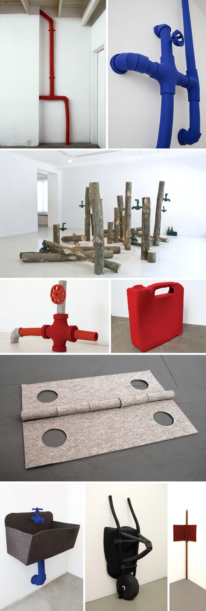 Soft sculptures made with felt of industrial objects such as pipes, faucets, hinges, and tools by Johanna Unzueta, Chilean artist