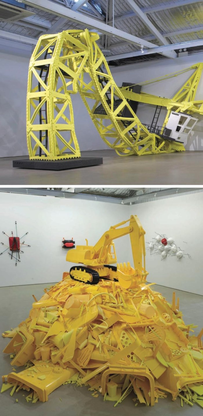 Soft sculptures of construction vehicles, contemporary Australian art, sculpture, Paul Caporn