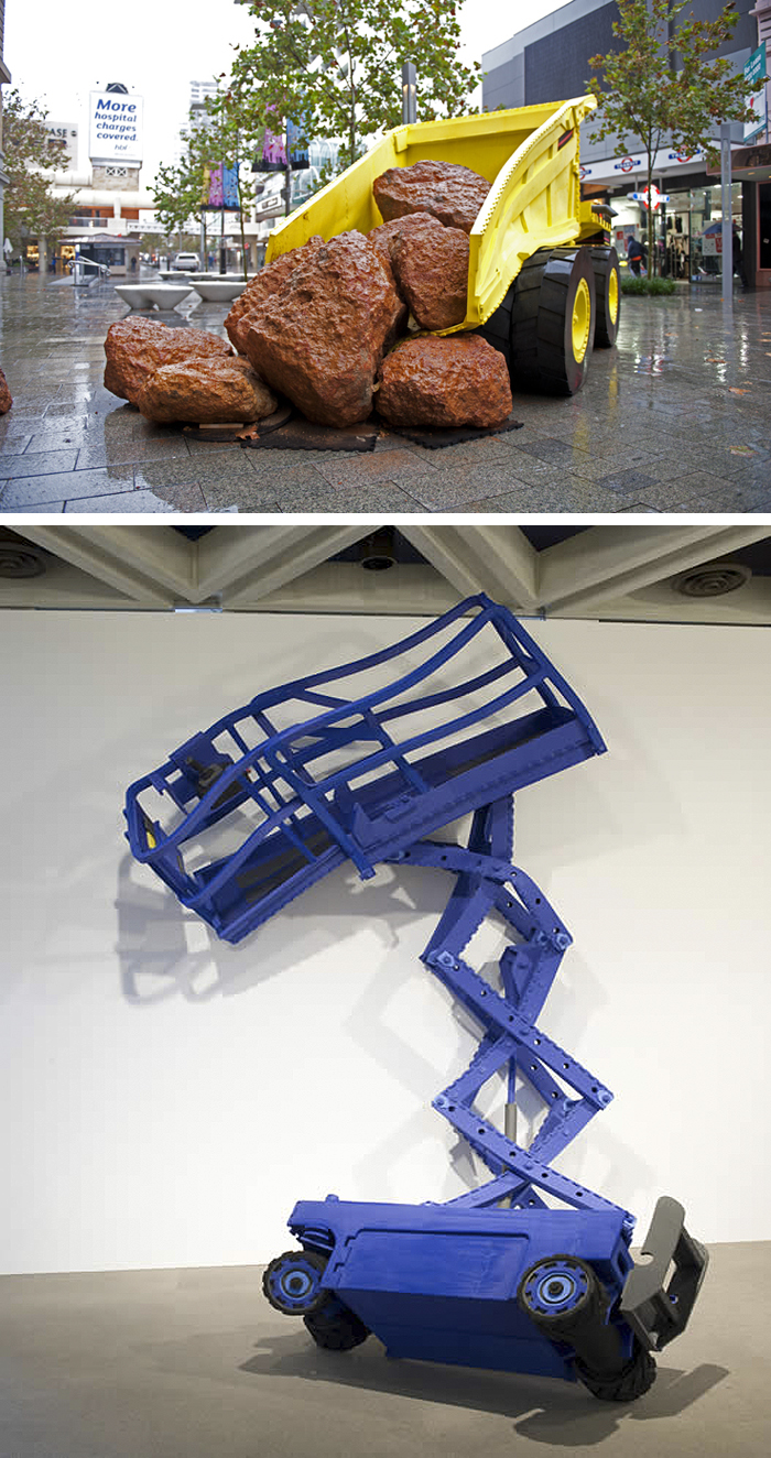 Contemporary Australian Art, Soft Sculptures of construction trucks, cherry picker, dump truck, tractors by paul Caporn