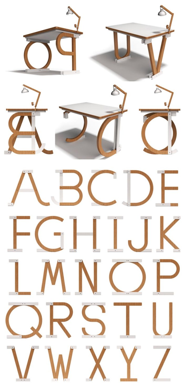 Typographic furniture, Desk with typography legs by Liviu Availoiei, cool furniture design, Typographic object