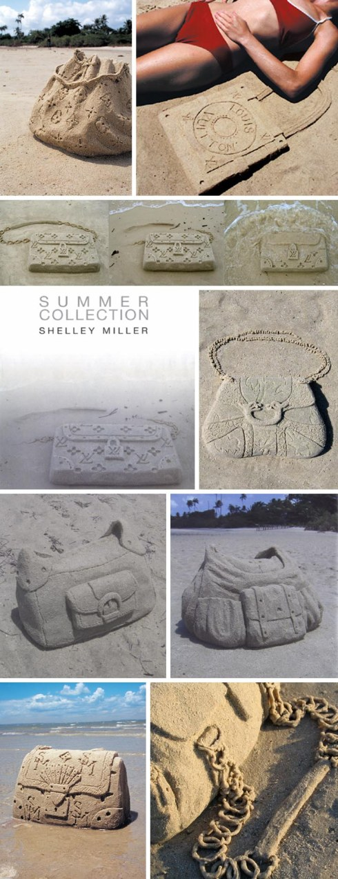 Handbags, purses, pocketbooks made out of sand on the beach by Shelley Miller, summer collection