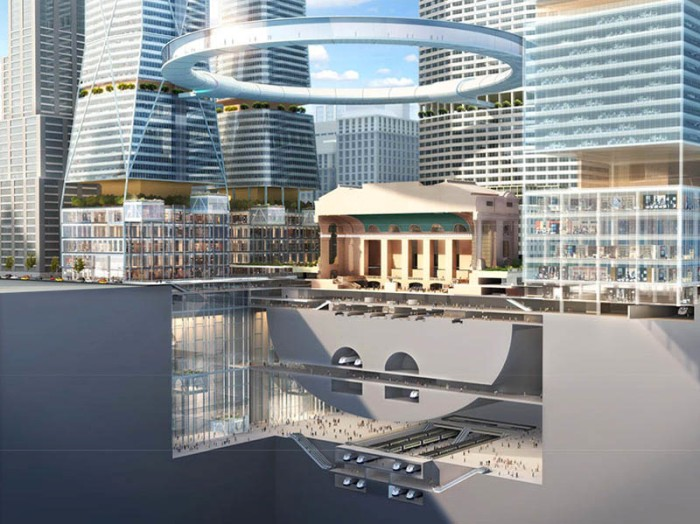 Grand Central Station area re-envisioned for Centennial, SOM, MAS, Skidmore, Owings & Merrill, Futuristic architecture, cool architecture, public space