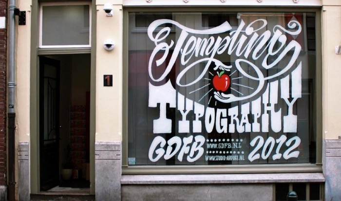 Window Typography workshop in the Netherlands during Graphic Design Festival 2012