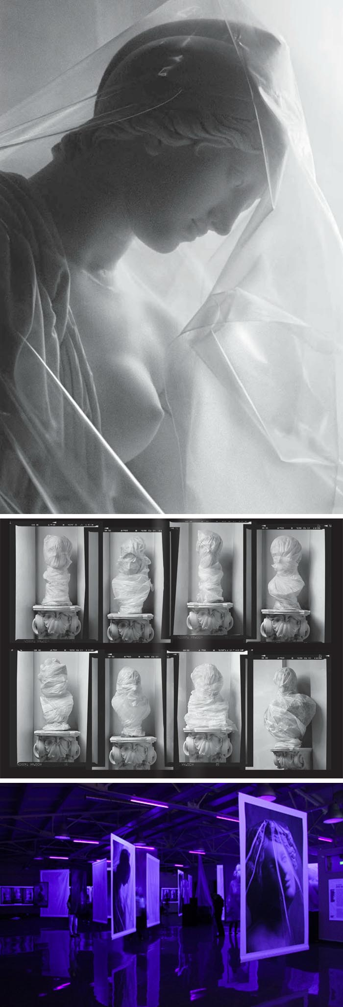 The New Hermitage, photographs of marble busts smothered/wrapped in polyethylene, contemporary Russian art and photography