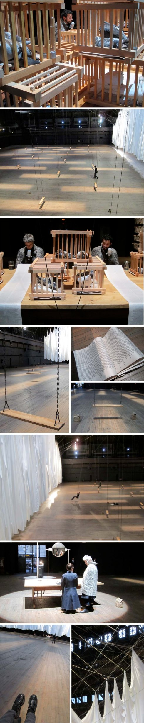 cool art installation with swings, pigeons, and readings at the Park Avenue Armory, NYC. Ann Hamilton, the event of a thread, multisensory installation